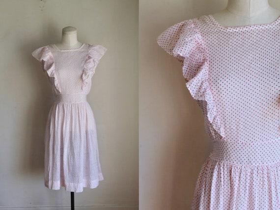 Vintage 1940s Pink & White Polka Dot Pinafore Dre… - image 1