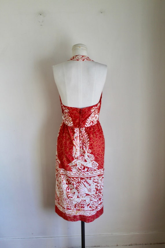 Vintage early 1960s Batik Halter Sundress / XS - image 7