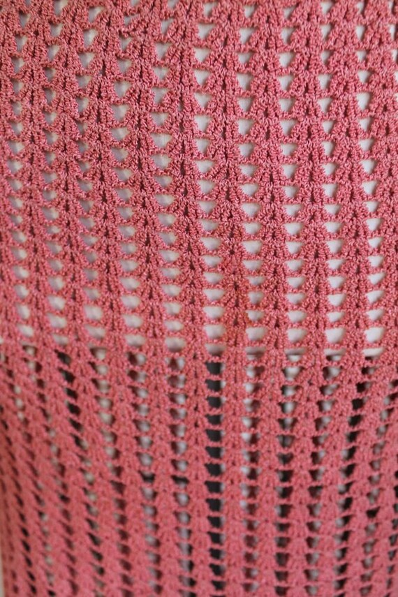 vintage 1930s rose crochet dress / XS - image 8