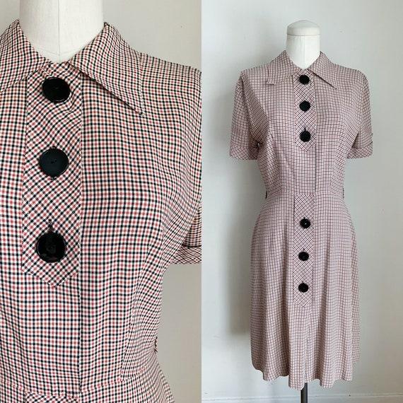 Vintage 1940s Red & Black Checker Day Dress / S