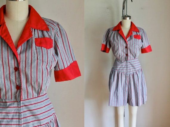 Vintage 1980s Striped Playsuit / Romper / XS