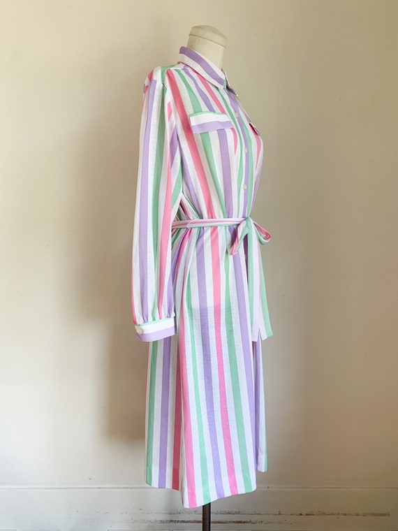 Vintage 1970s Candy Striped Shirt Dress / L - image 4