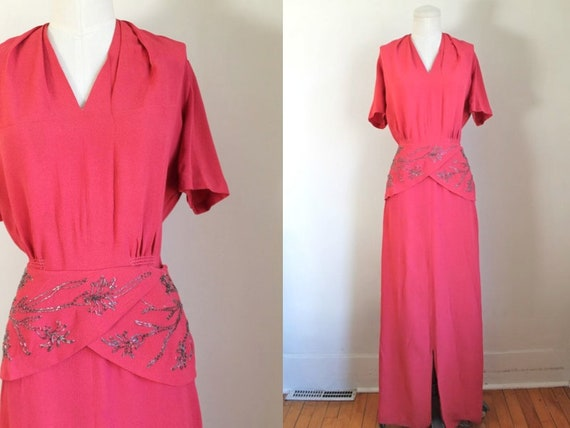 vintage 1940s coral beaded rayon maxi dress / M