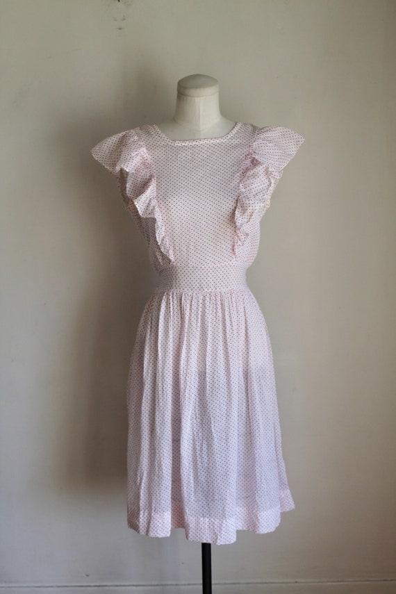 Vintage 1940s Pink & White Polka Dot Pinafore Dre… - image 2