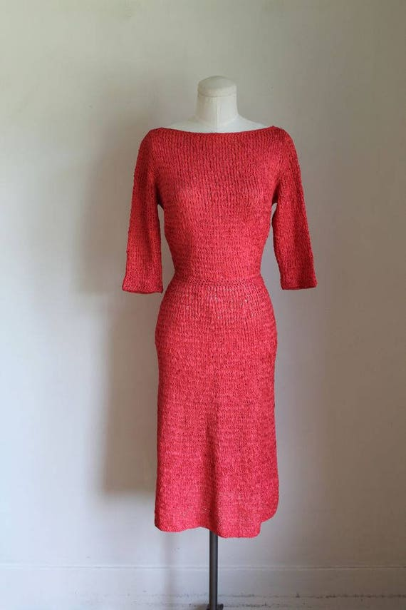 S 50s wiggle dress 1940s RIBBON RED knit dress crochet vintage XS 5vCq7