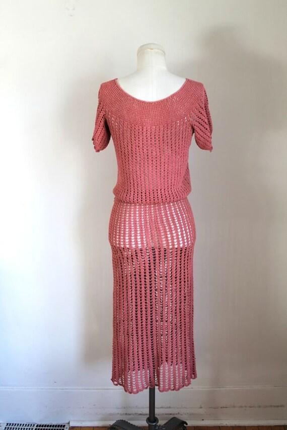 vintage 1930s rose crochet dress / XS - image 5