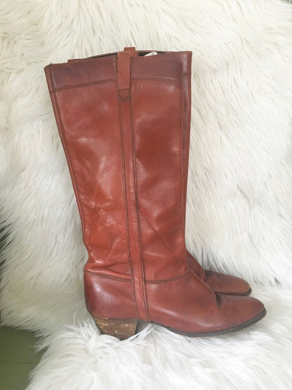 Vintage 1970s Chocolate Brown Leather Knee High Bo