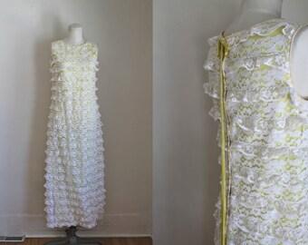 vintage 1960s dress - LEMON TWIST lace maxi gown / xxs-xs