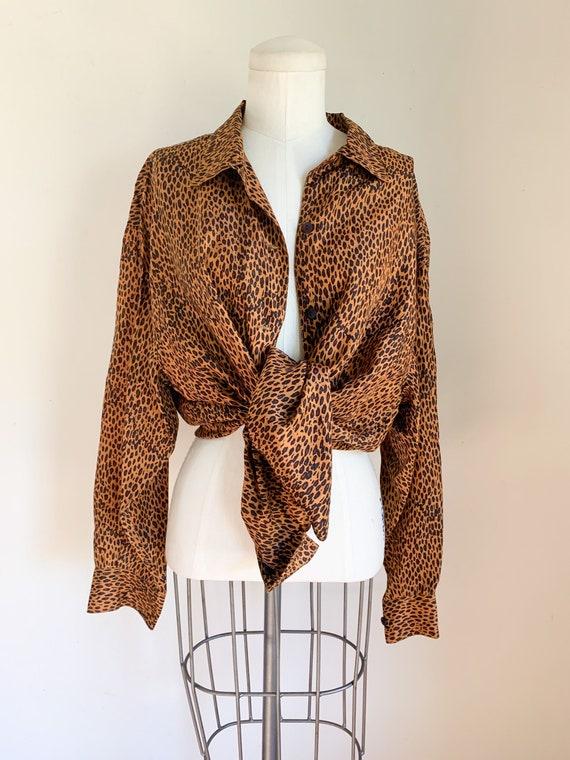 Vintage 1990s Leopard Print Blouse / L - image 1