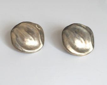 vintage silver metal earring - DOLLOP clip on earrings