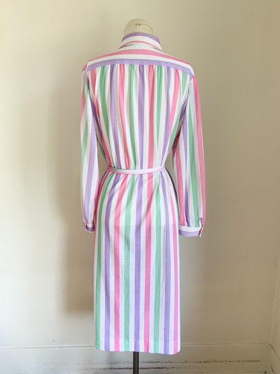 Vintage 1970s Candy Striped Shirt Dress / L - image 5