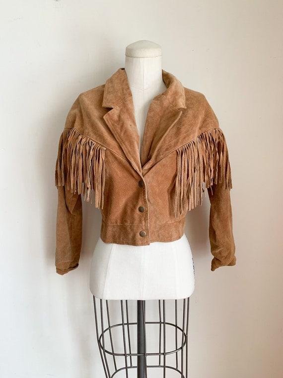 Vintage 1980s Brown Suede Fringed Jacket / S