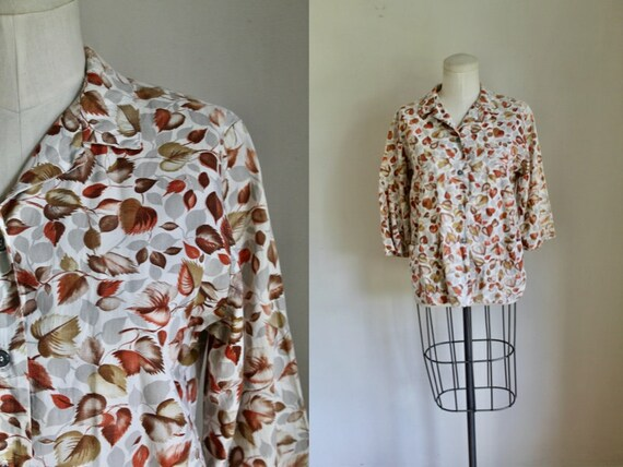 Vintage 1950s-60s Autumn Leaves Novelty Print Blou