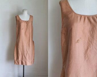 vintage 1920s dress - TERRACOTTA cotton slip dress / M