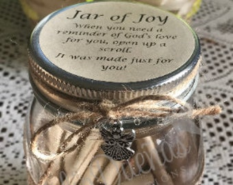 The Jar of Joy*Scripture Scrolls*Personalized Bible Verses*Encouragement & Inspirational Gift*Encouraging Word from God
