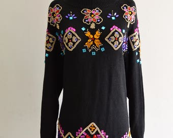 JEWELRY SEQUINED Gem Stones Sweatshirt Dress Pull Over Sequins Cabochon Sparkling Embroidery Beaded Stones Black/Colorful size 14/16
