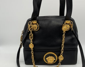 4aca0af8d656 GIANNI VERSACE COUTURE Authentic Black Doctor bag Tote Gold Chain Shoulder  Bag With Medusas Vintage 1980s