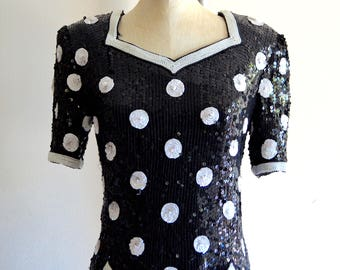POLKA DOT SEQUINED Scalloped Top Blouse Pearl Beaded Wedding Silk Street  Style eaf96a002