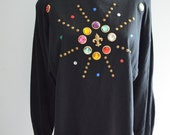 Colorful Stones Beaded Embellished Oversized Women 39 s Sweater Jumper Print Hipster Jeweled Jewel Gemstone Gems Glam Bedazzled