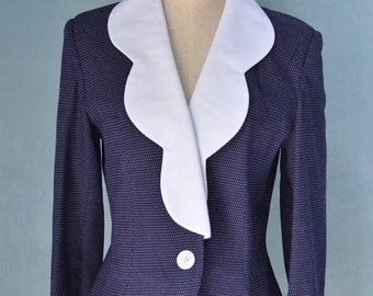 Vintage 60s White and Navy Blue Polka Dots Jacket Blazer
