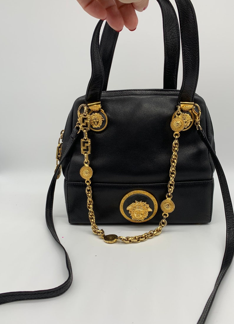 8557cb5e45b5 GIANNI VERSACE COUTURE Authentic Black Doctor bag Tote Gold