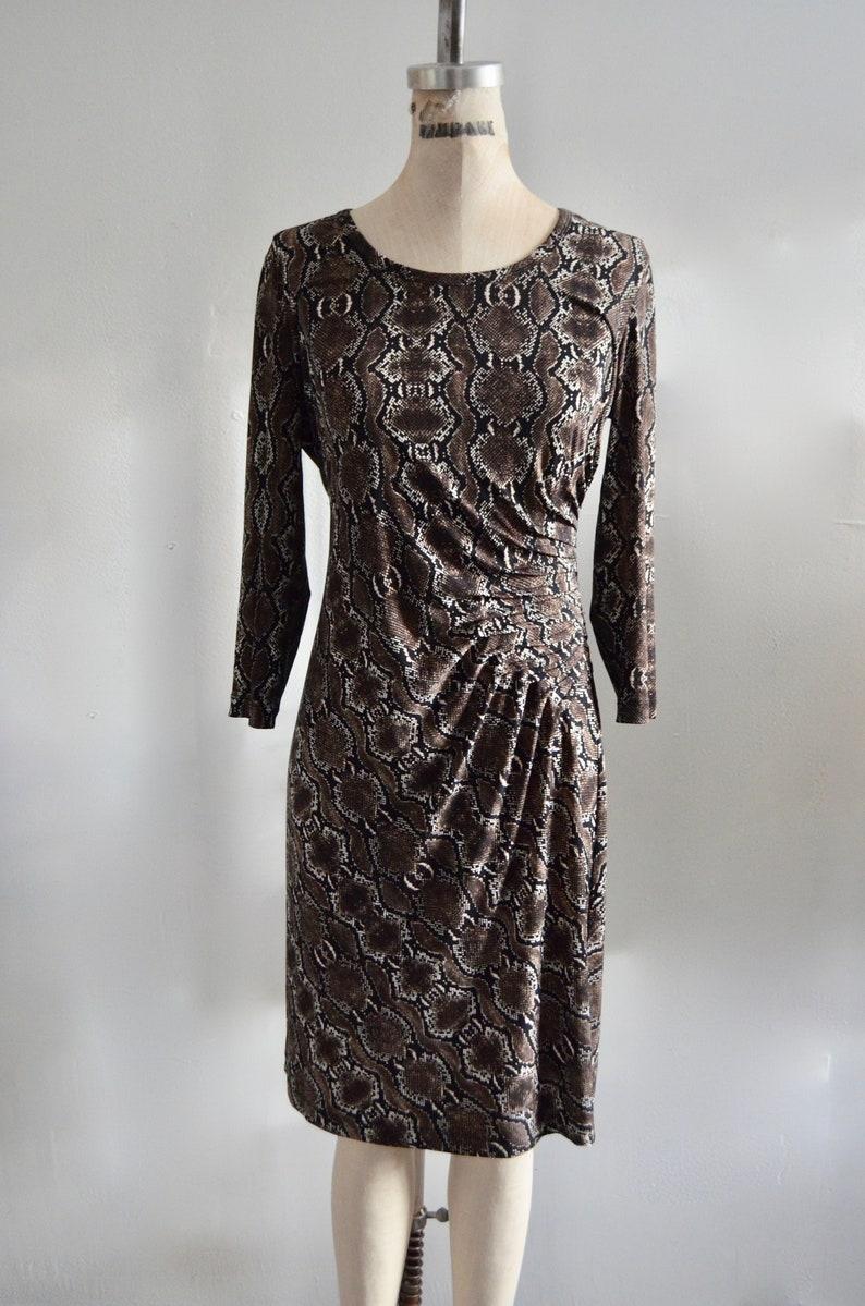 06d9648e Calvin Klein Snake Wrap Pleated Print Dress 3/4 Sleeves   Etsy