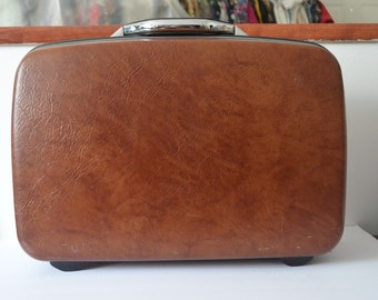 Vintage Samsonite Brown Hard Shell Suitcase Train Case Carry On Airplane Overnight Luggage Short Trips