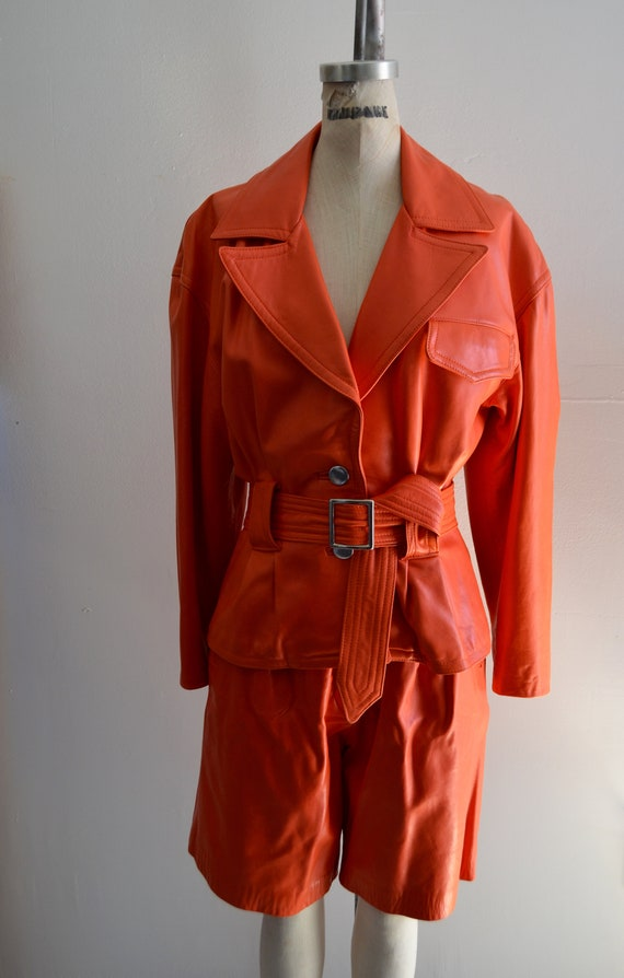 80s Lillie Rubin Coral leather Matching Set Suit C