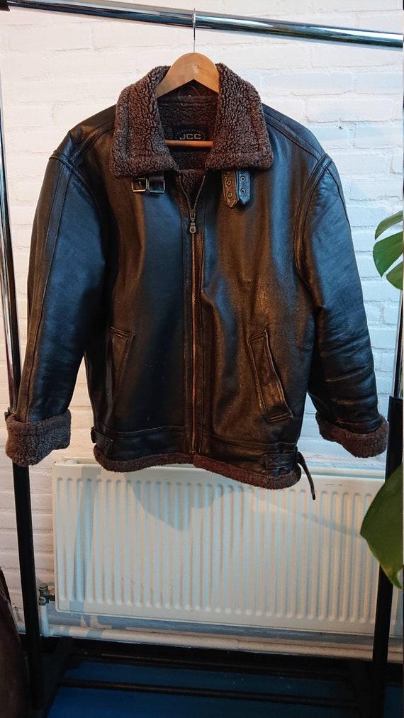 Vintage Aviator Jacket with Fake Fur Collar