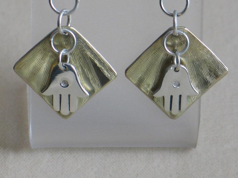 Abundance and Good Fortune Hamsa Earrings Diamond Jewelry Brass Sterling Silver Yoga