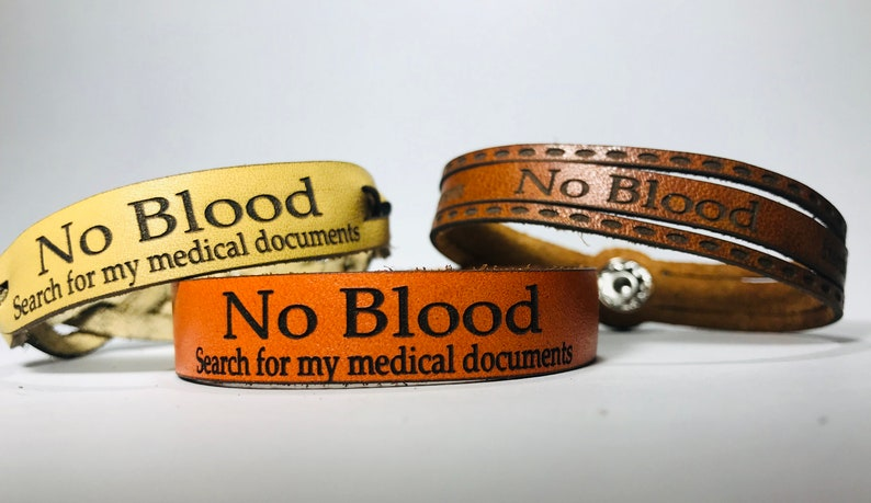 Leather Cuffs  Personalized  Medical directive  No Blood  Narrow Leather Wristband