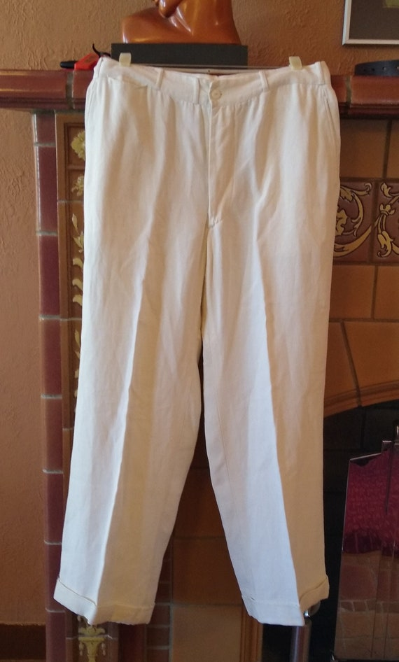 "1920s 1930s Linen Button Fly Pants 33""W"