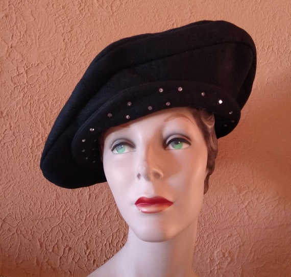 1940s Sculptural oversized platter hat - image 1