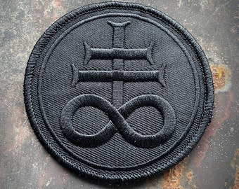 Leviathan cross, Sulphur cross, black on black version - PATCH