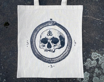 skull with Leviathan cross Tote bag natural white colored Ouroboros