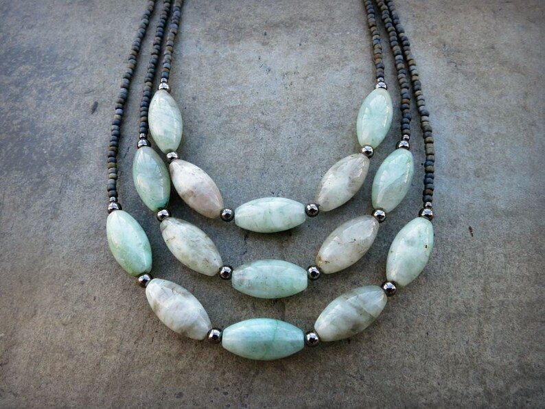 Mint Green Aquamarine Necklace rustic light green and gray  Bohemian style beaded March birthstone jewelry white