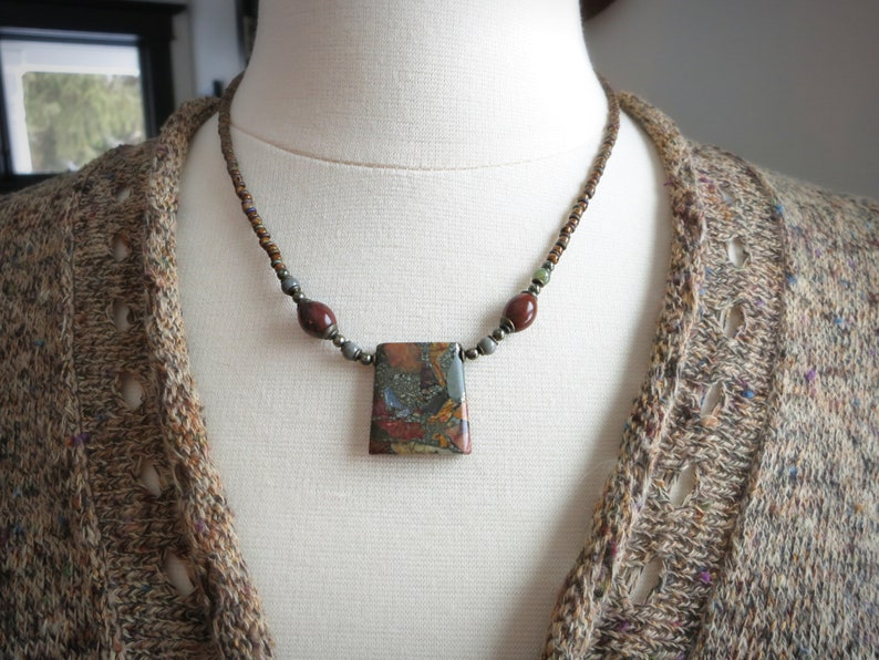 rustic beaded necklace with pyrite and jasper composite pendant in warm earthy colors Jasper Pendant Necklace