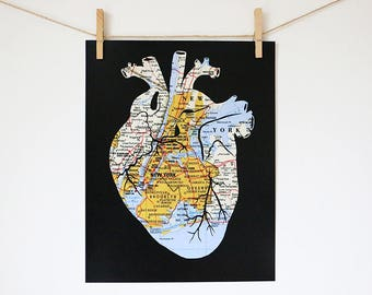 New York City Heart Map Art Print // 11x14 Poster // Anatomical Heart of NYC // Red or Black Background