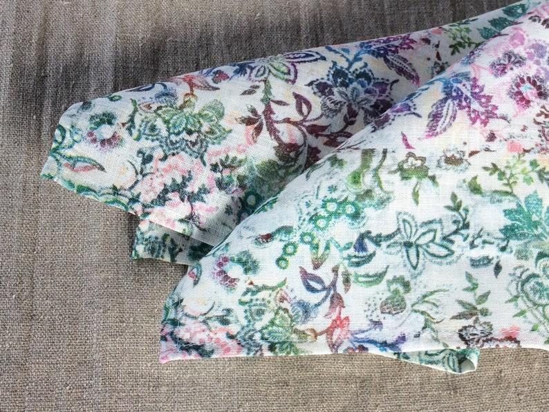 463914e19e987 Printed linen pocket square floral handkerchief 15 inch | Etsy