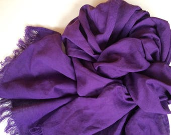 Long purple scarf, frayed linen men's shawl, women's summer accessory, unisex gift
