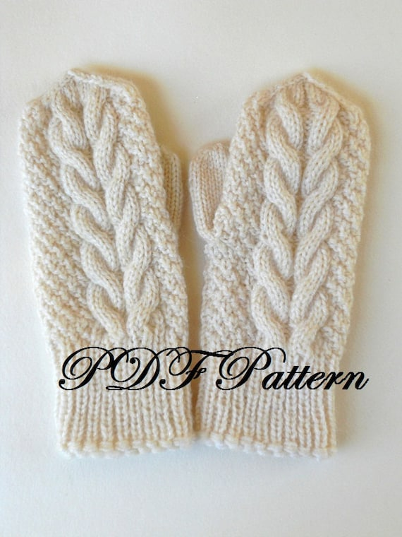PDF mitten pattern knit cabled mittens tutorial winter wool | Etsy