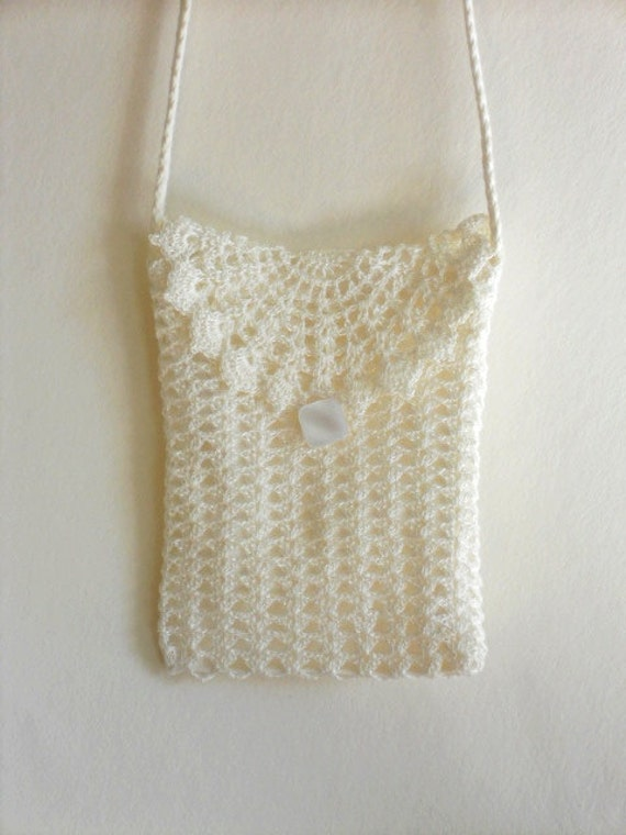 Crochet Wedding Purse White Lace Clutch With Long Strap Etsy