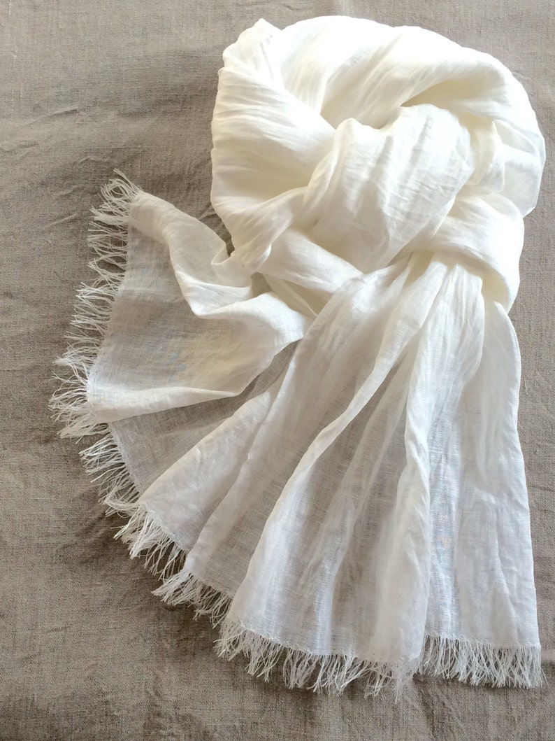 White linen scarf gift for her washed gauzy bridal scarf with fringe long lightweight shawl for women for men