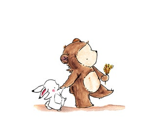 Bear and Bunny Together -- Archival Print