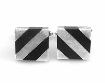 Vintage 1950s Felipe MARTINEZ Piedra Y Plata Handmade Sterling Silver & Obsidian Modernist Striped CUFFLINKS