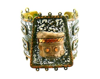 RARE Huge Vintage 1940s 50s Annette NANCARROW Mexico Handmade Mixed Metals Brass Copper & Ancient Pre-Columbian Clay Cuff BRACELET