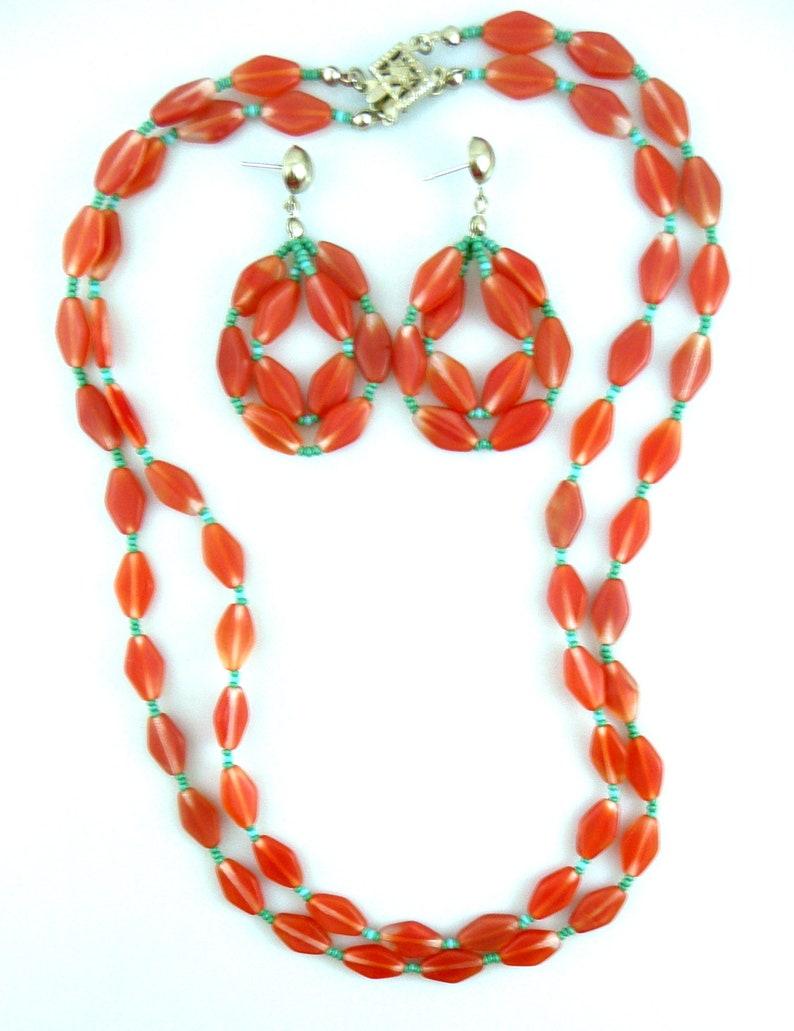 Vintage 1960s 70s Art Deco Revival Handmade Geometric Design Double Strand Art Glass NECKLACE /& Pierced EARRINGS Set