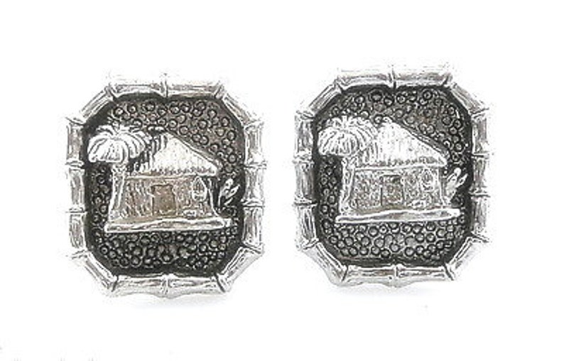 RARE Vintage 1940s 50s Hand Crafted Sterling Silver HAWAIIANA Grass Hut /& Palm Tree Design CUFFLINKS