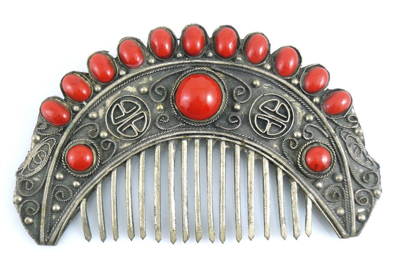HUGE Antique Qing Dynasty Chinese Export Silver /& Red Glass Handmade Auspicious Character SHOU Longevity Hair COMB