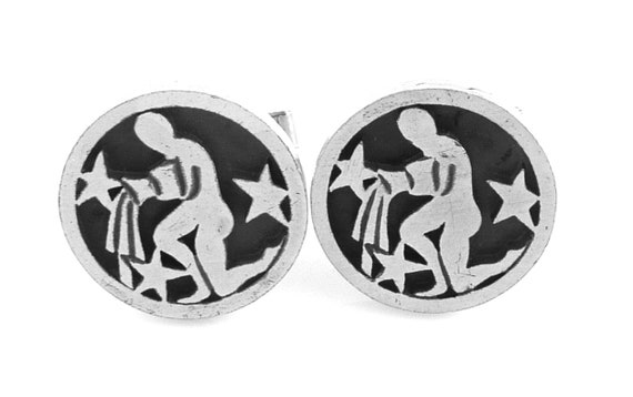 BIG Vintage 1950s 60s Handmade Sterling Silver /& Stone Geometric Design CUFFLINKS
